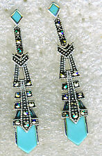 "925 Sterling Silver Turquoise & Marcasite Drop Dangle Earrings  L38mm (1.1/2"")"