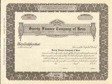 Surety Finance Company of Reno Nevada > old stock certificate share scripophily
