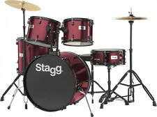 """STAGG TIM122B 5 Piece 22"""" Complete Drum Set WINE RED + Cymbals Throne and Sticks"""
