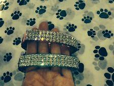 "Small Purple Collar With Clear Crystal Rhinestone Dog Collar Fits 10-14"" Necks"