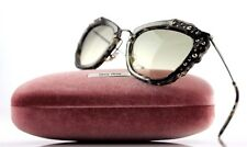 $550 Genuine MIU MIU Black Grey Havana Marble Cat Eye Sunglasses MU 04QS DHE-3H2