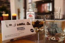 9 Stück Whisky Steine_Whisky Stones_Granit_Eiswürfel_Kühlsteine mit Stoffbeutel
