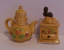 Coffee Grinder & Pot Salt & Pepper Shakers Tulips Vintage Japan Gold