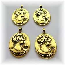 4 Ant. Goldtone Rose Lady Reversible 40mm x 30mm CAMEO PENDANTS Frames Settings