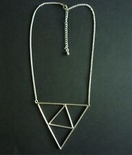 PENDANT LARGE TRIANGLE 42cm SILVER TONED CHAIN