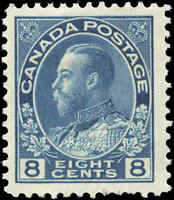 Mint H Canada 8c 1925 F-VF Scott #115 King George V Admiral Issue Stamp