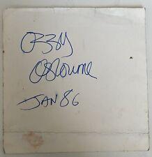 More details for ozzy osbourne autograph/signed card 1986 (black sabbath)