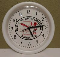 "Vintage Advertising Clock ""WOOD COUNTY ELECTRIC"" Quitman, Tx. 9.5"" Dia."