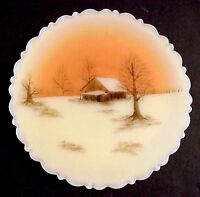 Fenton Glass Sunset On Cameo Satin Plate
