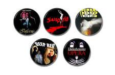 5 x DARIO ARGENTO movies buttons (25mm,badges,pins,horror,inferno,suspiria,oper)