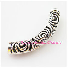2Pcs Tibetan Silver Wave Flower Tube Spacer Beads Charms Connectors 52mm