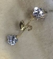 14K Yellow and White Gold Drop Earrings, Handmade, 2grams Vintage