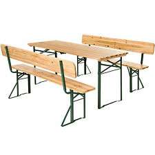 Wooden folding beer table bench set with backrest party pub garden furniture
