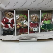 Danbury Mint 2017 Set of 4 Collectible Plush Bear Ornaments Christmas