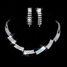 Silver Diamante Crystal Wedding Bride Bridal Necklace Earrings Jewellery Set