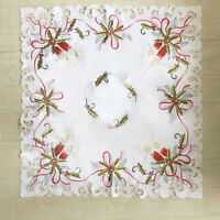 White Vintage Embroidered Lace Doily Square Table Cloth Topper Christmas 33inch