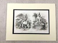 1854 Aufdruck Religiös Idol Gottheit Hindu Gott Indra Gautama Antik Gravierung