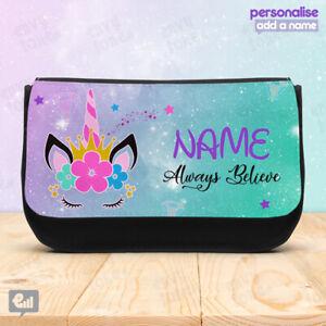 Personalised UNICORN Pencil CASE Bag School Kids Girly Stationary Fantasy Girls