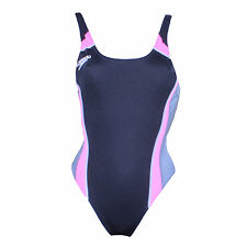 Swimming Costume Ladies Suit Speedo Endurance Black & Pink One Piece 30""