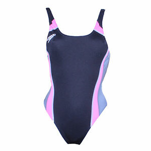 "Swimming Costume Ladies Suit Speedo Endurance Black & Pink One Piece 30"""