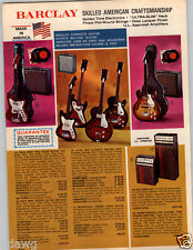 1969 PAPER AD Barclay Electric Guitar Two Pick Up Bass Amplifier Sunburst Pro
