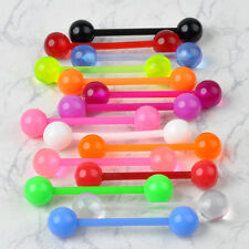 50 Pcs Tongue Bar Body Piercing Jewelry Bars Belly Barbell Flexi Plastic Decors