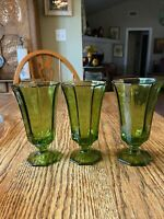 Green Footed Glasses Independence Glass Iced Tea Glasses  3-6""