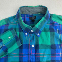 J.Crew Button Up Shirt Mens Large Blue Green Plaid Long Sleeve Casual