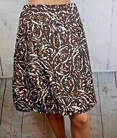 Banana Republic Brown & Cream Print 100% Silk Lined Bubble Hem Skirt Pockets 12