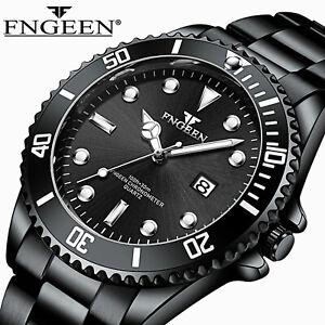 FNGEEN Waterproof Men's Watches Classic Stainless Steel Quartz Luminous Bracelet