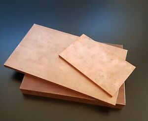 Copper 99,9% sheet / plate. New, 3mm thick - many sizes.