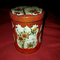 """VINTAGE RED & GOLD COLLECTIBLE TIN CONTAINER WITH LID DAHER MADE IN ENGLAND 4.5"""""""