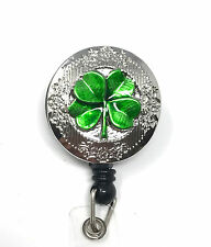Retractable ID badge holder reel - Lucky Irish Shamrock Green 4 Leaf Clover