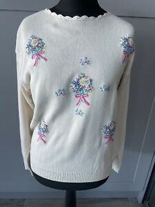 Vintage Tulchan Cream Ivory Cotton Floral Embroidered Jumper Sweater Size M