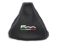 PER FIAT 500 2007-2017 CUFFIA LEVA CAMBIO PELLE NERA RICAMO 500 BIANCO Italia