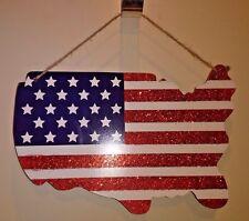 Wood USA Map Patriotic Flag Hanging Decoration