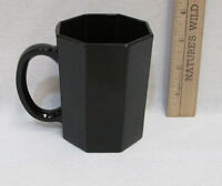 Black Octagon 8 Sided Glass Coffee Mug Cup Arcoroc France Octime Vintage