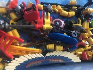LEGO minifigure spare accessories  x 50 picked at random weapons food tools etc