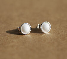 925 Sterling silver stud earrings with  Mountain Jade Natural White gemstones