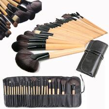 Professional 24pcs Natural Wooden Handle Cosmetic Makeup Brush Kit Set & Bag UK