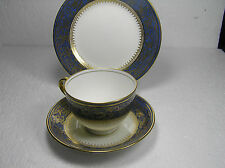 New Chelsea Fine bone china Cobalt Blue and Gold  Teacup, Saucer , Sideplate