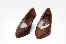 WOMENS ROSS LOW HEEL SHOES 100 % GENUINE LEATHER BROWN SIZE 37 UK 4-4.5 EXC