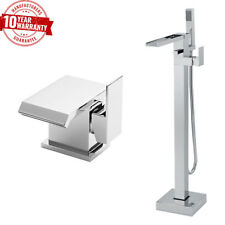 Waterfall Cascade Luxury Square Basin Tap & Freestanding Bath Shower Mixer *Q/Z