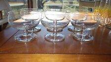CLear Crystal Dessert Sherbets Cups 6 footed Ice Cream Dishes Berry Bowls 6