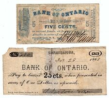 2 Bank of Ontario Notes- 1862 5 cent Canandaigua NY 1863 25c Fractional Currency