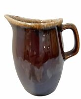 Vintage Hull Oven Proof Brown Drip Creamer Pitcher 4 1/2 in. Tall Made in USA