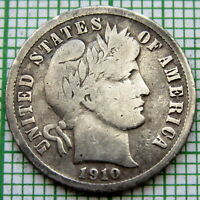 UNITED STATES 1910 P BARBER DIME - 10 CENTS, PHILADELPHIA MINT SILVER