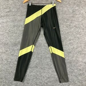 Nike Womens Leggings Size XS Black Yellow Stretch Full Length Fitted 114.01