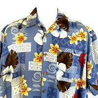 Banana Cabana HAWAIIAN FLORAL Men's XL Silk Camp Shirt Coconut Buttons Pocket