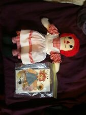 """Handmade  RAGGEDY ANNE DOLL 14"""" + PAPER 1980S? good condition rare VINTAGE COOL!"""